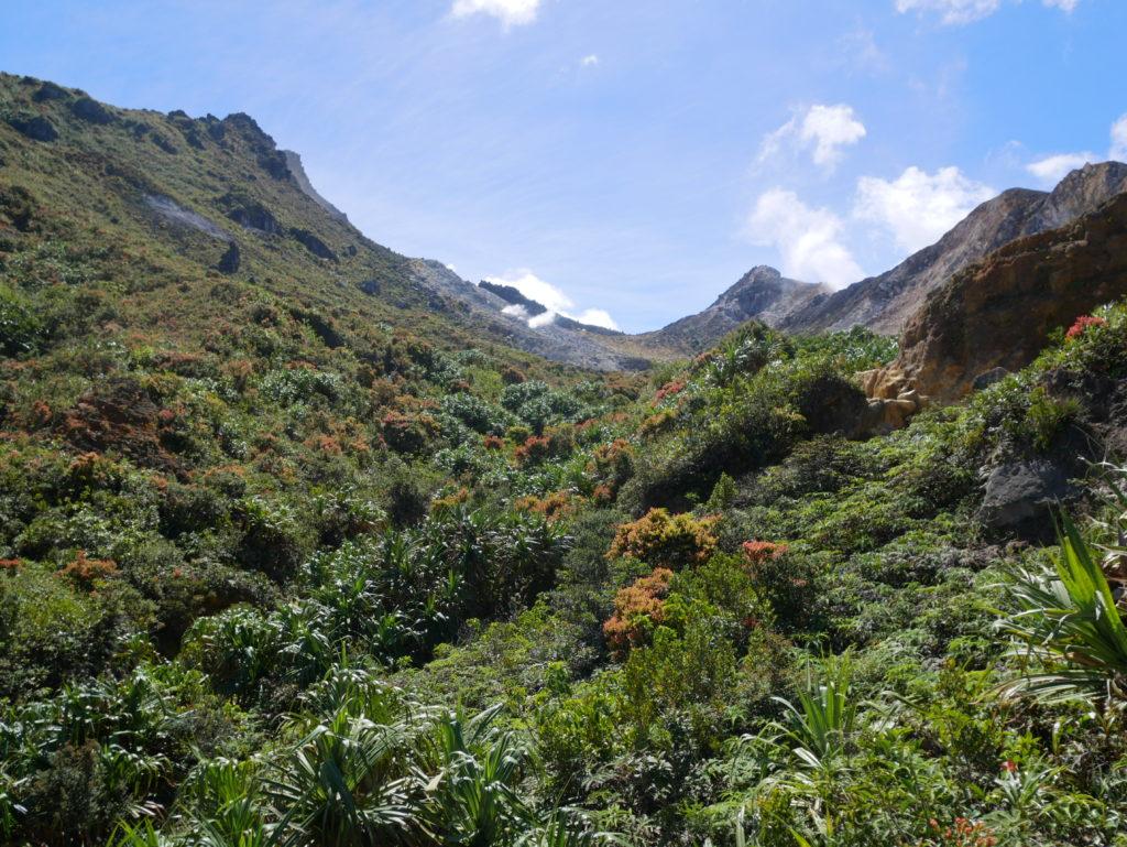 Vulkan-Trekking Sibayak: Ein erster Blick in Richtung Krater